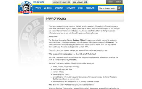 Screenshot of Privacy Page bobjane.com.au - Privacy Policy - Bob Jane T-Marts - captured July 1, 2017