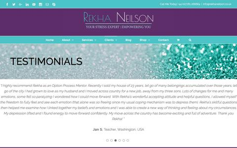 Screenshot of Testimonials Page rekhaneilson.co.uk - Testimonials - Rekha Neilson Option Process Mentor - captured Nov. 30, 2016