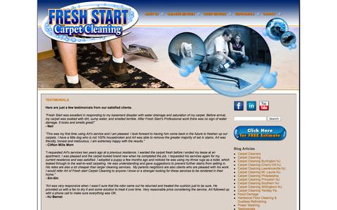 Screenshot of Testimonials Page freshstartcarpet.com - Testimonials | Fresh Start Carpet - captured Oct. 27, 2014
