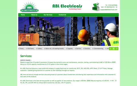 Screenshot of Services Page ablelectricals.com - Services ABL Electricals  || New Transformer And Transformer Repairing and more... - captured Dec. 22, 2015