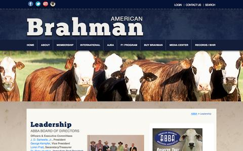 Screenshot of Team Page brahman.org - Leadership  |  American Brahman Breeders Association - captured Feb. 6, 2016