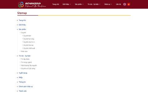 Screenshot of Site Map Page anthaigroup.vn - Tập đoàn An Thái - Nhà sản xuất cà phê chuyên nghiệp - captured Feb. 3, 2016