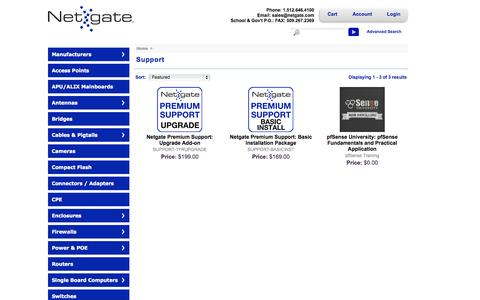 Screenshot of Support Page netgate.com - Support Packages and Training Courses - captured Sept. 19, 2014