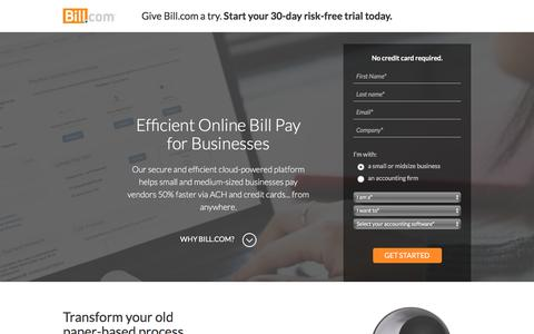 Screenshot of Landing Page bill.com - Bill.com - captured March 24, 2017
