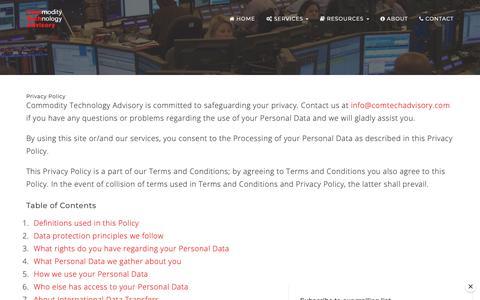 Screenshot of Privacy Page comtechadvisory.com - Privacy Policy | Commodity Technology Advisory - captured Sept. 29, 2018