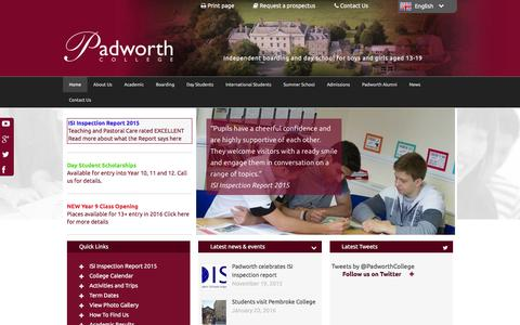 Screenshot of Home Page padworth.com - Padworth College International school for day and boarding students aged 13-19 - captured Jan. 22, 2016