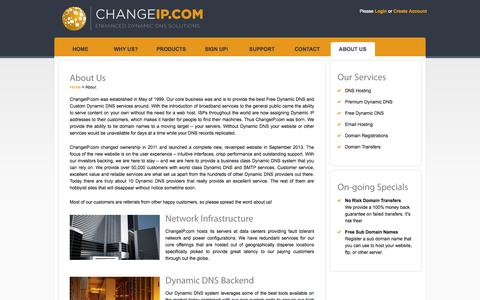Screenshot of About Page changeip.com - About | ChangeIP.com - captured Sept. 22, 2014
