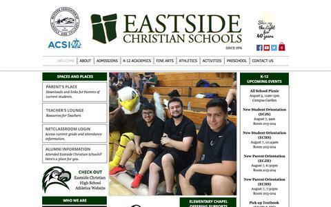Screenshot of Home Page eastsidechristian.org - Eastside Christian Schools - captured July 13, 2017