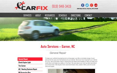 Screenshot of Services Page carfix.us.com - Auto Services | Automotive Repair in Garner, NC | CarFix - captured Sept. 27, 2014