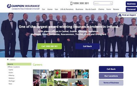 Screenshot of Jobs Page campionins.com - Careers   Insurance Broker   Campion Insurance Ireland - captured Oct. 18, 2016