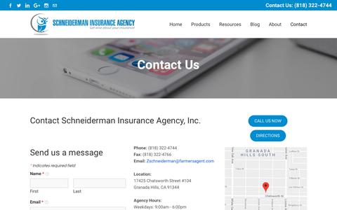 Screenshot of Contact Page schneidermaninsurance.com - Contact Us - Schneiderman Insurance Agency, Inc. - captured Oct. 2, 2018