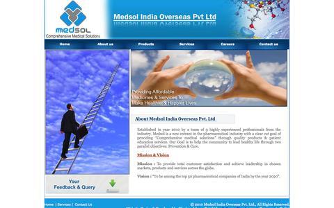Screenshot of About Page medsolindia.com - Medsol India Overseas Pvt. Ltd. - captured Oct. 27, 2014