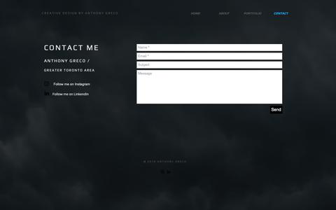 Screenshot of Contact Page anthgreco.ca - Contact    •   Creative Design by Anthony Greco - captured Oct. 3, 2018
