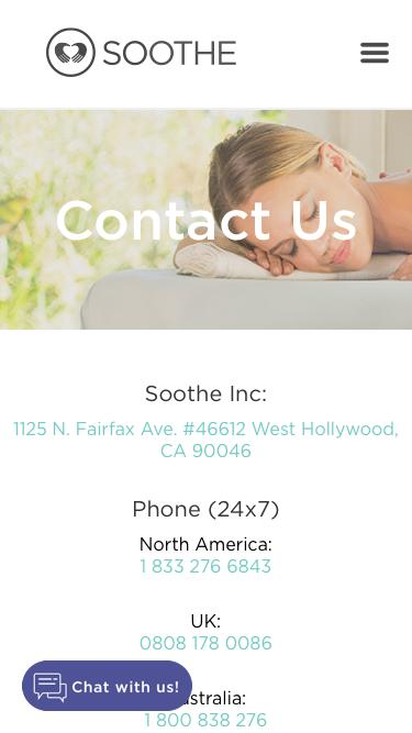 Screenshot of Privacy Page Contact Page  soothe.com - contact | Soothe