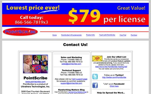 Screenshot of Contact Page pointscribe.com - PointScribe | Contact Us - captured Oct. 2, 2014