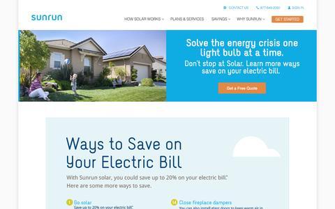 Screenshot of sunrun.com - How To Save On Your Electric Bill   Solar Savings   Sunrun - captured March 19, 2016