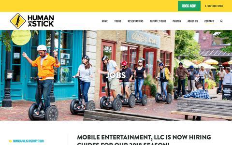 Screenshot of Jobs Page mobileentertainmentllc.com - Jobs • Human on a Stick - captured Oct. 30, 2018