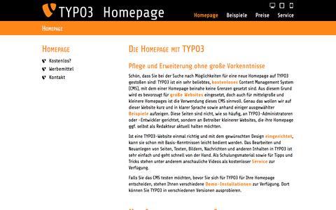 Screenshot of Home Page homepage-typo3.de - Homepage TYPO3-Informationen zur Homepage mit TYPO3 - captured June 11, 2016