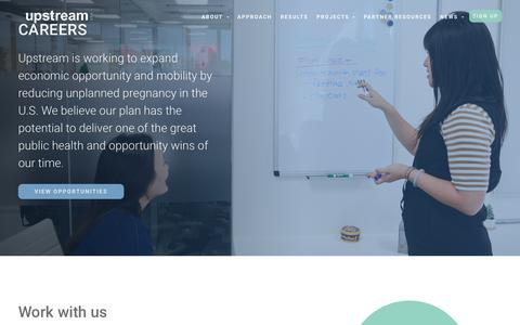 Screenshot of Jobs Page upstream.org - Careers at Upstream | Join the fast-growing Upstream team - captured July 3, 2018