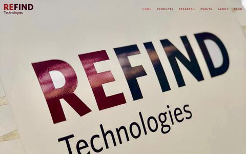 Screenshot of Home Page refind.se - Refind Technologies - captured Oct. 18, 2018