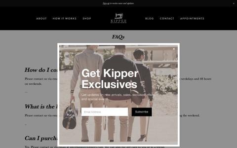 Screenshot of FAQ Page kipperclothiers.biz - F.A.Q. — Kipper Clothiers - captured Oct. 15, 2018