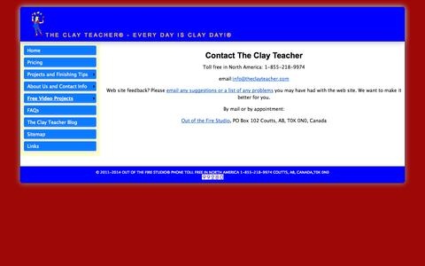 Screenshot of Contact Page theclayteacher.com - Contact The Clay Teacher - captured Oct. 1, 2014