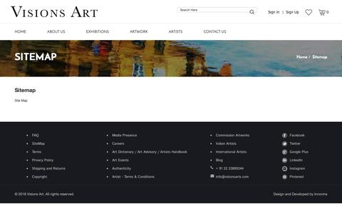 Screenshot of Site Map Page visionsarts.com - Gallery for Modern and Contemporary Indian Art - captured Oct. 18, 2018