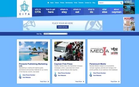 Screenshot of Press Page cita.ky - Cayman Islands Tourism Association - CITA Member by Media Sector - captured Sept. 27, 2018