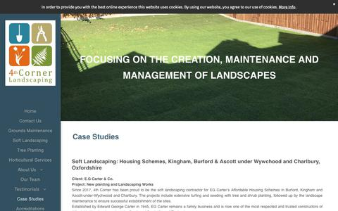 Screenshot of Case Studies Page 4thcorner.co.uk - Soft Landscaping and Grounds Maintenance Case Studies, Oxfordshire - captured Oct. 20, 2018