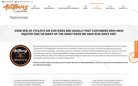 Screenshot of Testimonials Page alltrails.com.au - Bicycle Tours Australia testimonials - captured Oct. 25, 2018