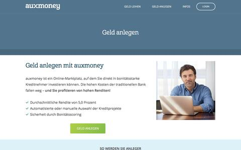 Geld anlegen | Ø 5,0% Rendite erzielen » AUXMONEY