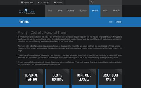 Screenshot of Pricing Page personal-trainer-essex.com - Cost Of A Personal Trainer - Optimum PT Pricing - captured Sept. 29, 2014