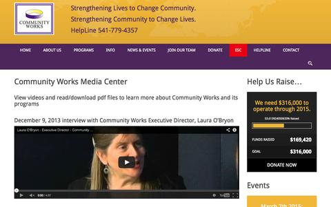 Screenshot of Press Page community-works.org - Media - Community Works - captured Oct. 28, 2014