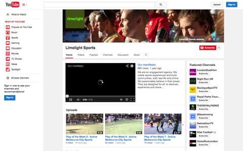 Screenshot of YouTube Page youtube.com - Limelight Sports  - YouTube - captured Oct. 22, 2014