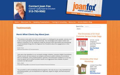 Screenshot of Testimonials Page joanfox.com - Testimonials - JoanFox.com - captured Nov. 9, 2018