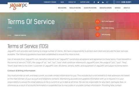 Screenshot of Terms Page jaguarpc.com - Terms of Service - Jaguarpc - captured Dec. 2, 2016