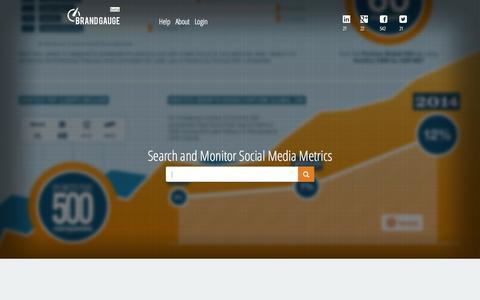 Screenshot of Home Page brandgauge.com - Social Media Monitoring,Statistics & Benchmarking   Brand Gauge - captured Oct. 1, 2014