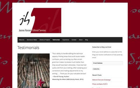 Screenshot of Testimonials Page hansenedits.com - Testimonials | Jeanne Hansen Editorial Services - captured Oct. 4, 2014