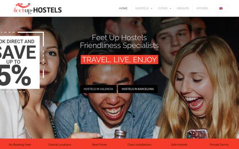 Screenshot of Home Page feetuphostels.com - Feetup Hostels and Accommodation in Barcelona, Valencia. Beds from 10€ - captured Oct. 10, 2018