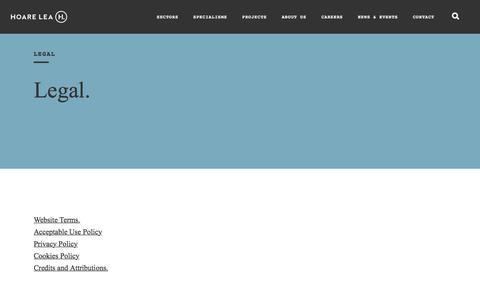 Screenshot of Terms Page hoarelea.com - Legal   Hoare Lea - captured July 20, 2018
