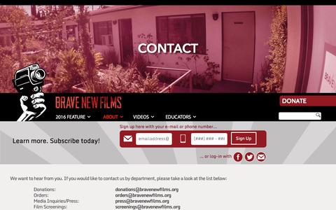 Screenshot of Contact Page bravenewfilms.org - Contact Us - Brave New Films - captured Jan. 17, 2016