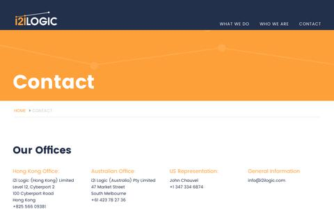 Screenshot of Contact Page i2ilogic.com - i2i Logic | Let's Start a Conversation | Contact Us Today - captured June 8, 2017