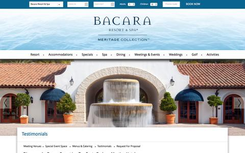 Screenshot of Testimonials Page bacararesort.com - Bacara Resort | Santa Barbara Meeting Hotel Reviews - captured Jan. 28, 2016