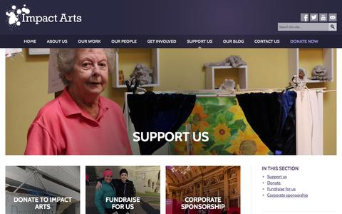 Screenshot of Support Page impactarts.co.uk - Impact Arts | Support us - captured Jan. 8, 2016