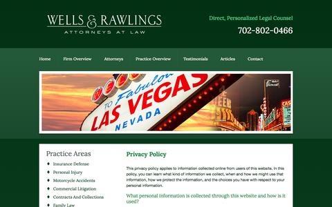 Screenshot of Privacy Page wellsrawlings.com - Privacy Policy | Wells & Rawlings | Las Vegas - captured Oct. 26, 2014
