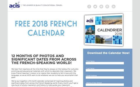 Screenshot of Landing Page acis.com - 2018 French Cultural Calendar - captured May 11, 2018