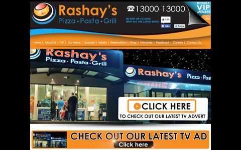 Screenshot of Home Page rashays.com - Rashay's Pizza Pasta Grill Restaurant - Sydney Australia - captured Oct. 6, 2014