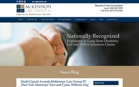 Screenshot of Press Page mslawllp.com - News Blog | McKennon Law Group - captured Jan. 19, 2016