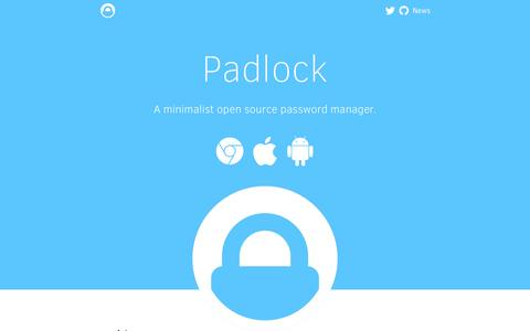 Screenshot of Home Page padlock.io - Padlock - A Minimalist Password Manager - captured Sept. 8, 2016