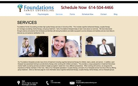 Screenshot of Services Page foundationsfamily.com - Our Services | Foundations Family | Columbus, Oh - captured Nov. 25, 2016